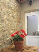 Balcony flowers and door to bedroom 1