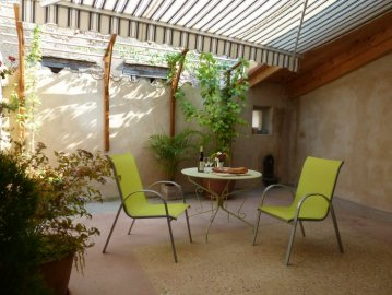 Terrace with awning extended