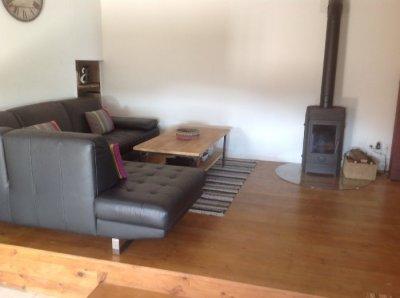 Family room with log burner