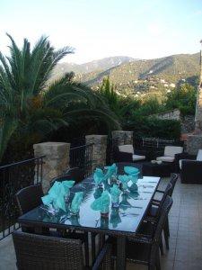 Al fresco dining on sunny terrace