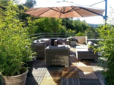 Panoramic roof terrace overlooking the Seine and Fontainebleau forest
