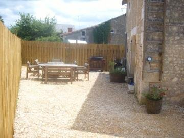 Private patio at the rear of the barn