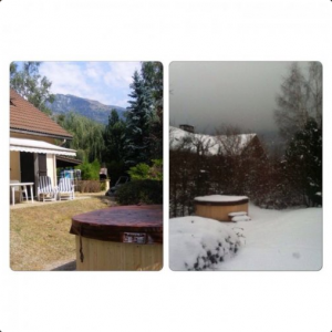 Hot tub in summer and winter