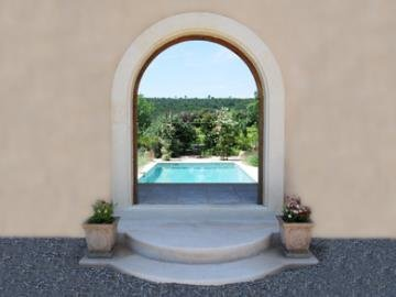Entrance to solar heated pool