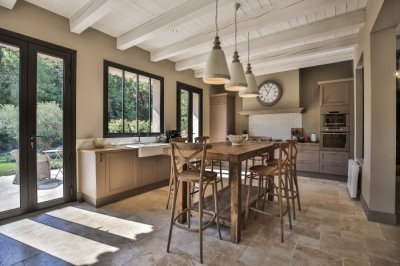 Stunning Kitchen opening onto lavender and olive garden